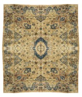 Antique Persian Kashmar Rug with Signature