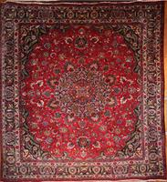 Traditional Persian Mashad Rug with Signature